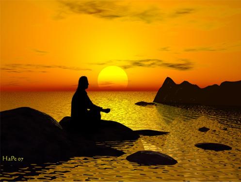 coucher soleil et méditation